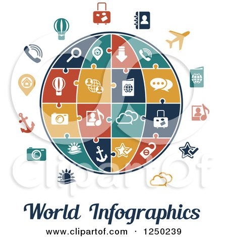 Clipart of a Globe with Puzzle Piece Icons and World Infographics Text - Royalty Free Vector Illustration by Vector Tradition SM