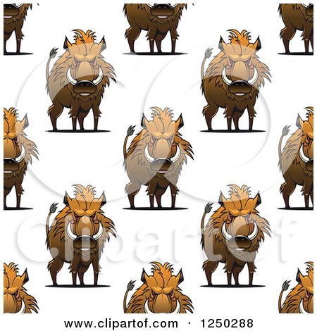 Clipart of a Seamless Background Pattern of Razorback Boars - Royalty Free Vector Illustration by Vector Tradition SM