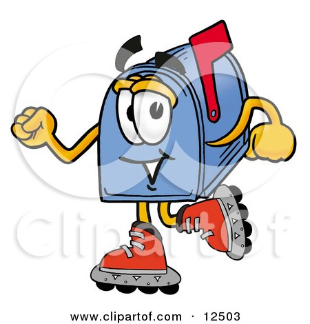 Clipart Picture of a Blue Postal Mailbox Cartoon Character Roller Blading on Inline Skates by Toons4Biz
