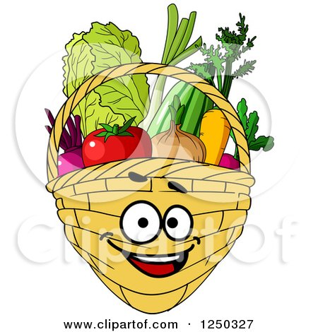 Basket Full of Produce Character Posters, Art Prints