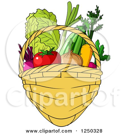 Clipart of a Basket Full of Produce - Royalty Free Vector Illustration by Vector Tradition SM