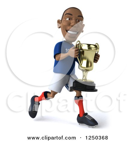 Clipart of a 3d Black French Soccer Player Running with a Trophy 2 - Royalty Free Illustration by Julos