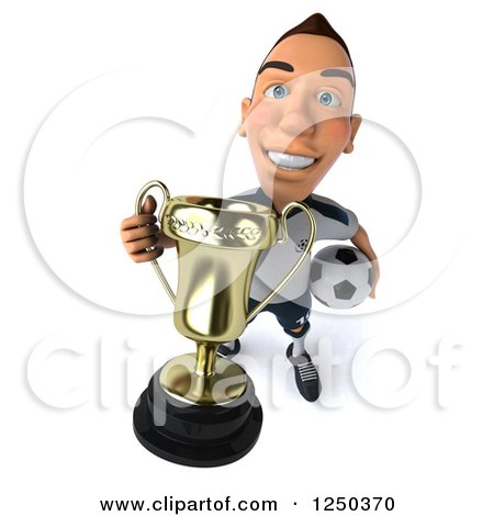 Clipart of a 3d German Soccer Player Holding up a Trophy - Royalty Free Illustration by Julos