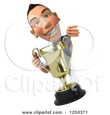 Clipart of a 3d German Soccer Player Holding a Trophy Around a Sign - Royalty Free Illustration by Julos