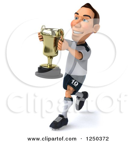 Clipart of a 3d German Soccer Player Running with a Trophy - Royalty Free Illustration by Julos