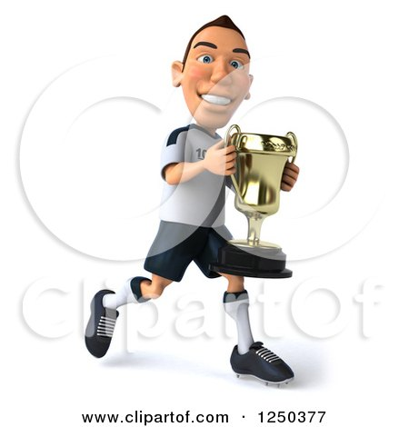 Clipart of a 3d German Soccer Player Running with a Trophy 2 - Royalty Free Illustration by Julos