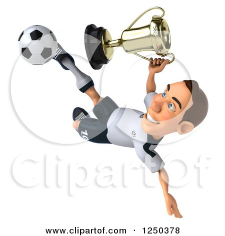 Clipart of a 3d German Soccer Player Kicking with a Trophy - Royalty Free Illustration by Julos