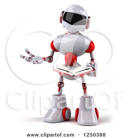 Clipart of a 3d White and Red Robot Reading a Book - Royalty Free Illustration by Julos