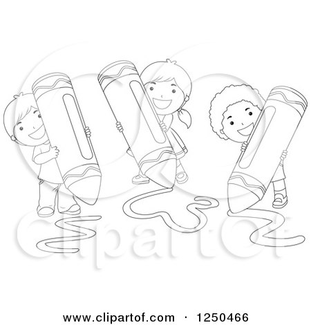Clipart of Black and White Happy Children Using Giant Crayons - Royalty Free Vector Illustration by BNP Design Studio