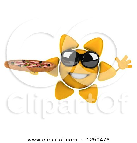 Clipart of a 3d Sun Wearing Shades and Holding a Pizza 3 - Royalty Free Illustration by Julos