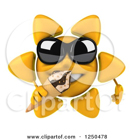 Clipart of a 3d Sun Wearing Shades and Eating an Ice Cream Cone - Royalty Free Illustration by Julos