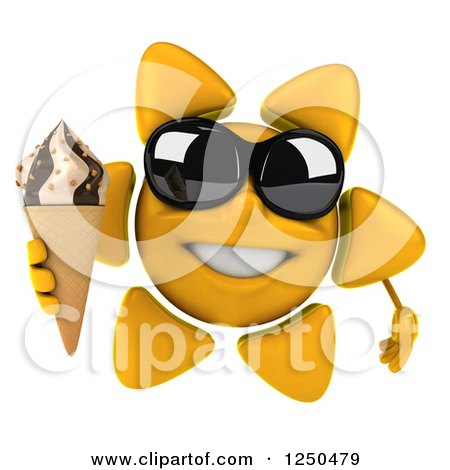 Clipart of a 3d Sun Wearing Shades and Holding an Ice Cream Cone 2 - Royalty Free Illustration by Julos