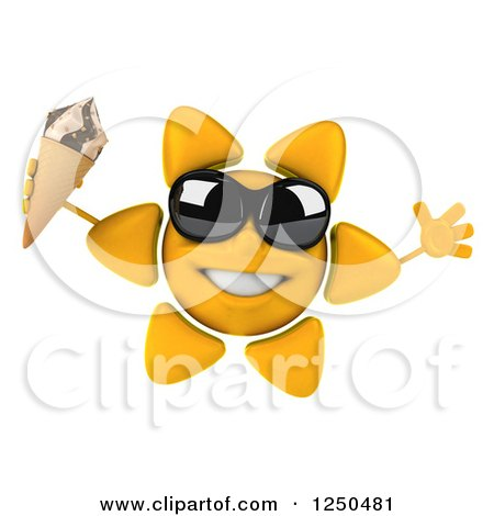 Clipart of a 3d Sun Wearing Shades and Jumping with an Ice Cream Cone - Royalty Free Illustration by Julos