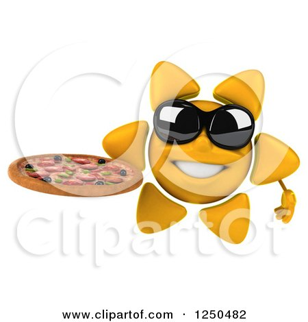Clipart of a 3d Sun Wearing Shades and Holding a Pizza - Royalty Free Illustration by Julos