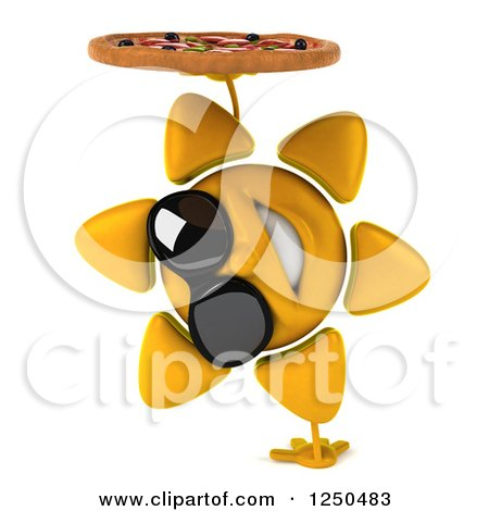 Clipart of a 3d Sun Wearing Shades, Cartwheeling and Holding a Pizza - Royalty Free Illustration by Julos
