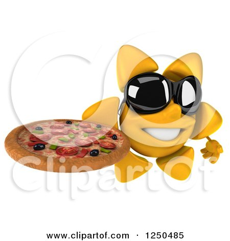 Clipart of a 3d Sun Wearing Shades and Holding a Pizza 2 - Royalty Free Illustration by Julos