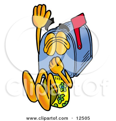 Clipart Picture of a Blue Postal Mailbox Cartoon Character Plugging His Nose While Jumping Into Water by Toons4Biz