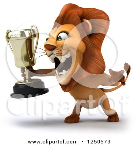 Clipart of a 3d Champion Lion Roaring and Holding a Trophy Cup 2 - Royalty Free Illustration by Julos