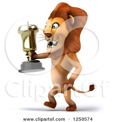 Clipart of a 3d Champion Lion Walking with a Trophy Cup - Royalty Free Illustration by Julos