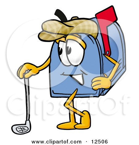 Clipart Picture of a Blue Postal Mailbox Cartoon Character Leaning on a Golf Club While Golfing by Toons4Biz