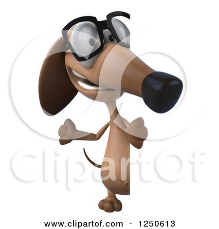 Clipart of a 3d Bespectacled Dachshund Dog Waving Around a Sign - Royalty Free Illustration by Julos