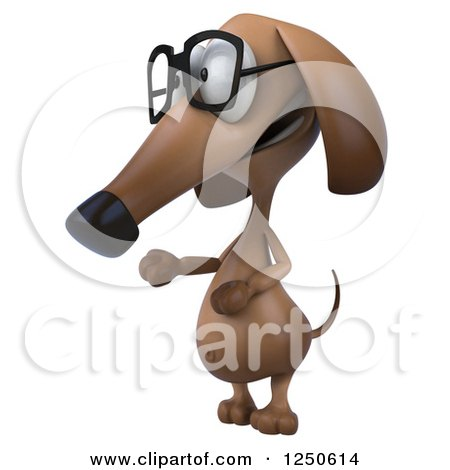 Clipart of a 3d Bespectacled Dachshund Dog Presenting - Royalty Free Illustration by Julos
