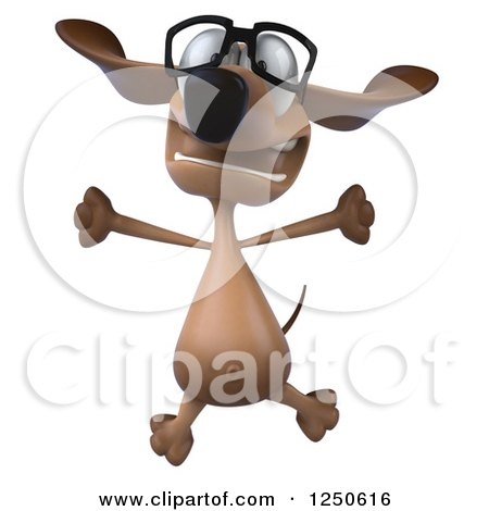 Clipart of a 3d Bespectacled Dachshund Dog Jumping - Royalty Free Illustration by Julos
