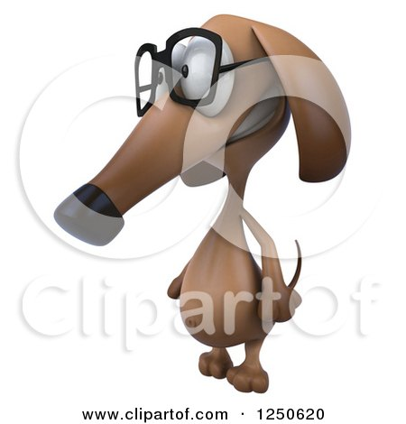 Clipart of a 3d Bespectacled Dachshund Dog 2 - Royalty Free Illustration by Julos