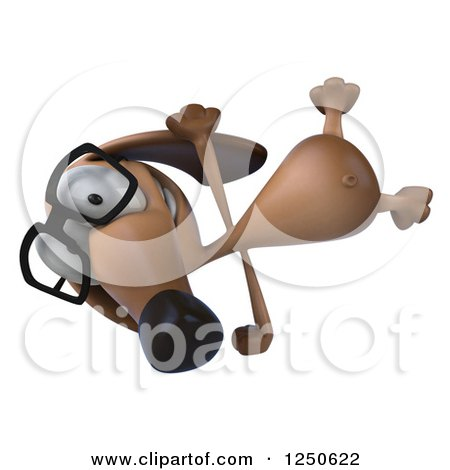 Clipart of a 3d Bespectacled Dachshund Dog Cartwheeling - Royalty Free Illustration by Julos