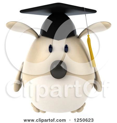 Clipart of a 3d Chubby Graduate Dog 2 - Royalty Free Illustration by Julos