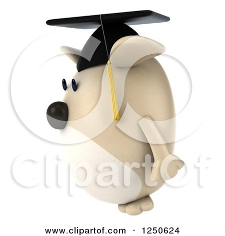 Clipart of a 3d Chubby Graduate Dog Facing Left - Royalty Free Illustration by Julos