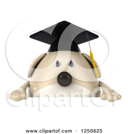 Clipart of a 3d Chubby Graduate Dog over a Sign - Royalty Free Illustration by Julos