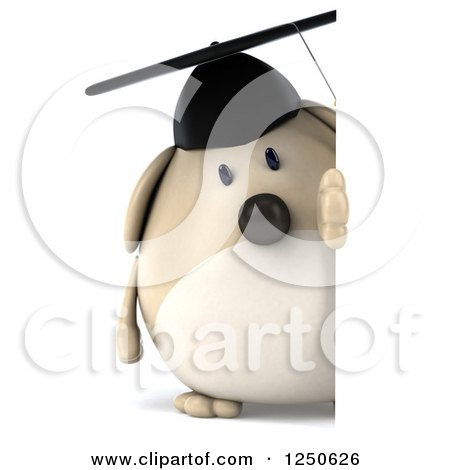Clipart of a 3d Chubby Graduate Dog Looking Around a Sign - Royalty Free Illustration by Julos