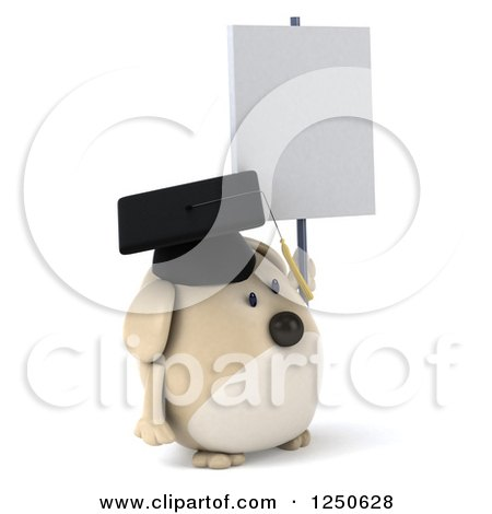 Clipart of a 3d Chubby Graduate Dog Holding a Blank Sign 2 - Royalty Free Illustration by Julos