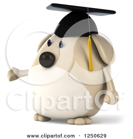 Clipart of a 3d Chubby Graduate Dog Presenting 2 - Royalty Free Illustration by Julos