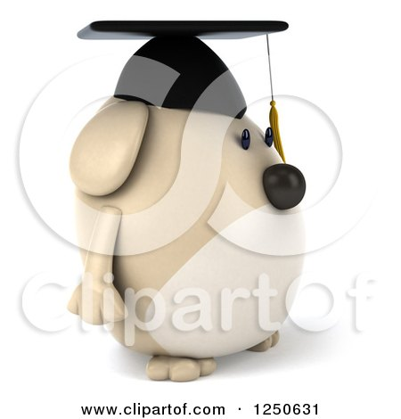 Clipart of a 3d Chubby Graduate Dog Facing Right - Royalty Free Illustration by Julos