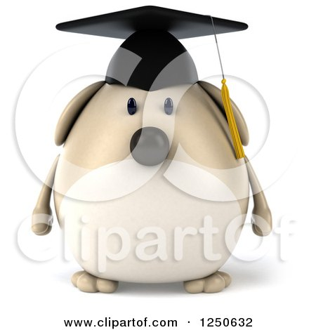 Clipart of a 3d Chubby Graduate Dog - Royalty Free Illustration by Julos