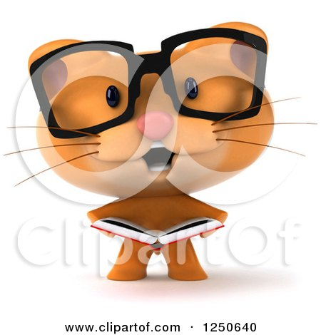 Clipart of a 3d Bespectacled Ginger Cat Reading a Book - Royalty Free Illustration by Julos