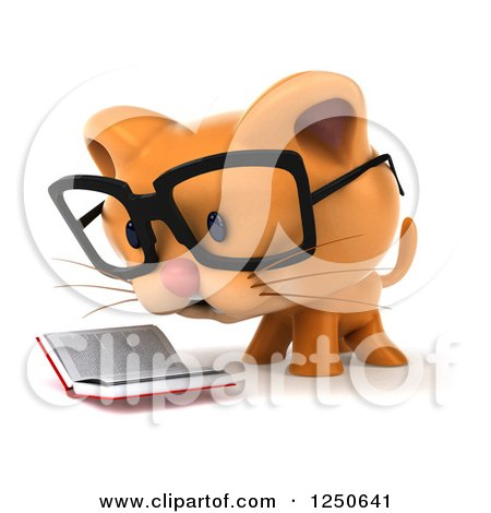 Clipart of a 3d Bespectacled Ginger Cat Reading a Book 2 - Royalty Free Illustration by Julos