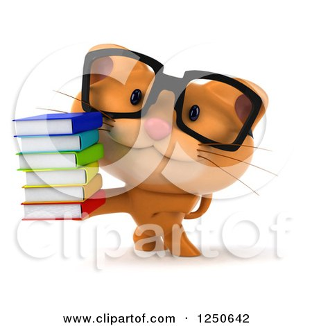 Clipart of a 3d Bespectacled Ginger Cat Holding a Stack of Books - Royalty Free Illustration by Julos