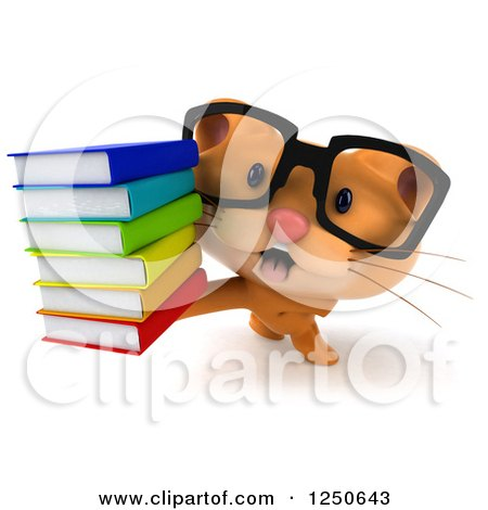 Clipart of a 3d Bespectacled Ginger Cat Holding a Stack of Books 2 - Royalty Free Illustration by Julos
