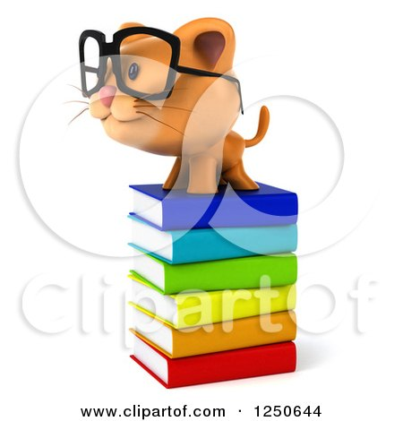 Clipart of a 3d Bespectacled Ginger Cat on a Stack of Books - Royalty Free Illustration by Julos