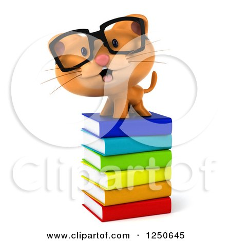Clipart of a 3d Bespectacled Ginger Cat on a Stack of Books 2 - Royalty Free Illustration by Julos
