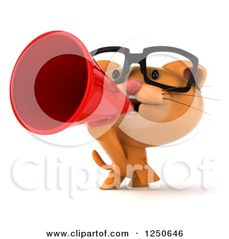 Clipart of a 3d Bespectacled Ginger Cat Announcing with a Megaphone - Royalty Free Illustration by Julos