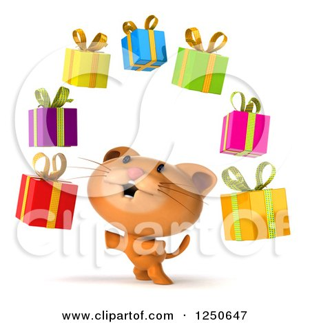 Clipart of a 3d Ginger Cat Juggling Gifts 2 - Royalty Free Illustration by Julos