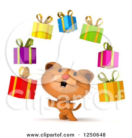 Clipart of a 3d Ginger Cat Juggling Gifts - Royalty Free Illustration by Julos