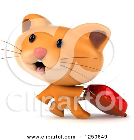 Clipart of a 3d Ginger Cat Pulling a Rolling Suitcase - Royalty Free Illustration by Julos