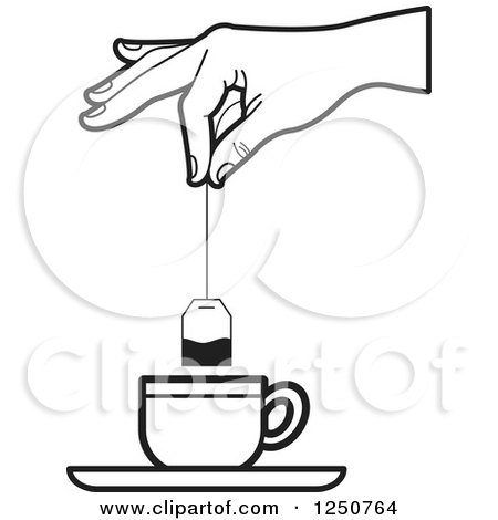 dip coloring pages | Clipart of a Black and White Hand Dipping a Tea Bag into a ...