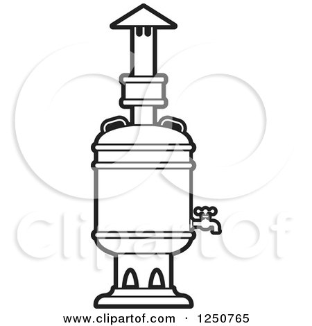 Clipart of a Black and White Tea Boiler - Royalty Free Vector Illustration by Lal Perera
