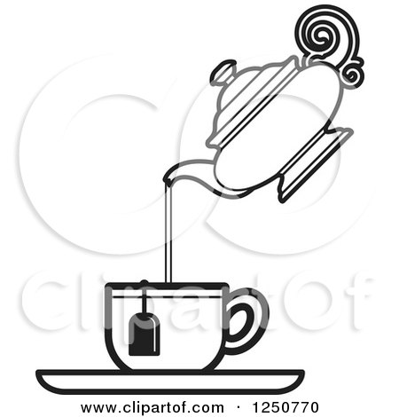 Clipart of a Black and White Tea Pot Pouring into a Cup - Royalty ...